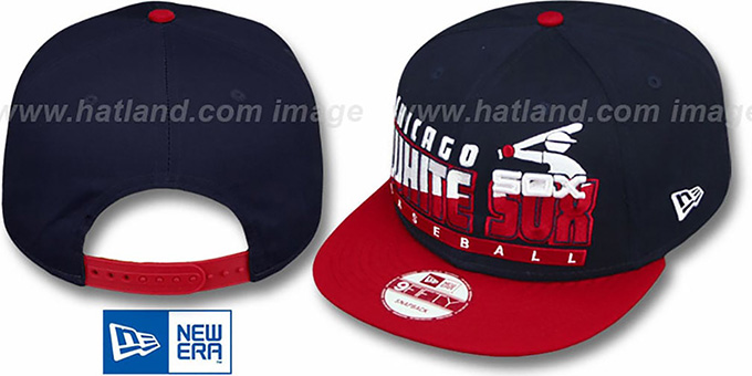 White Sox COOP 'SLICE-N-DICE SNAPBACK' Navy-Red Hat by New Era : pictured without stickers that these products are shipped with