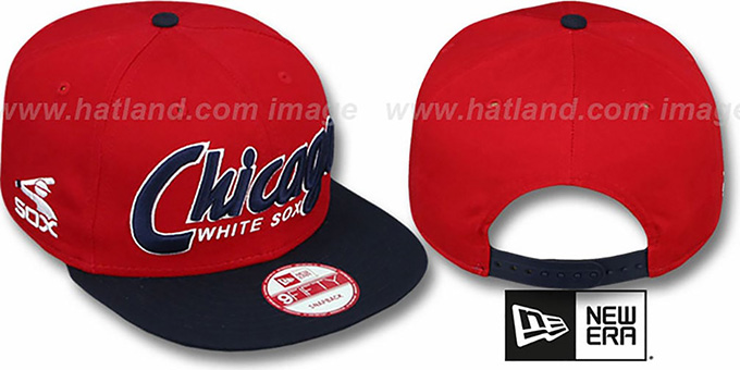 White Sox COOP 'SNAP-IT-BACK SNAPBACK' Red-Navy Hat by New Era : pictured without stickers that these products are shipped with