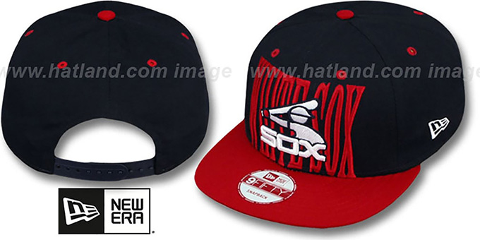 White Sox COOP 'STEP-ABOVE SNAPBACK' Navy-Red Hat by New Era : pictured without stickers that these products are shipped with