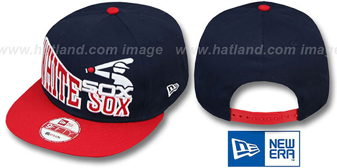 White Sox COOP 'STOKED SNAPBACK' Navy-Red Hat by New Era : pictured without stickers that these products are shipped with
