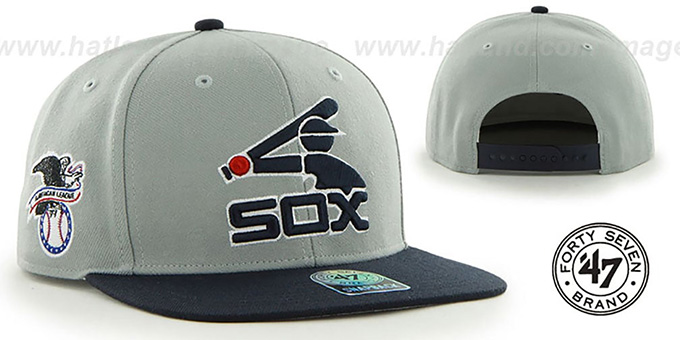 White Sox COOP 'SURE-SHOT SNAPBACK' Grey-Navy Hat by Twins 47 Brand : pictured without stickers that these products are shipped with