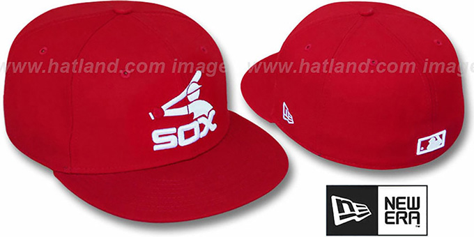 White Sox COOP  TEAM-BASIC  Red-White Fitted Hat by ... c66674098000