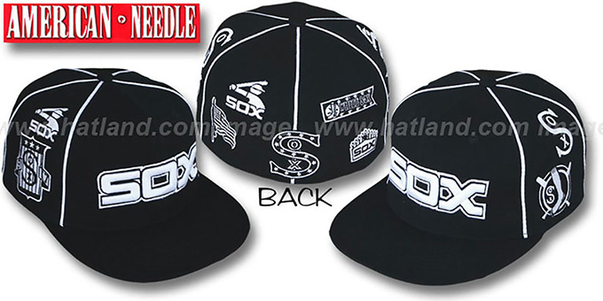 White Sox 'COOPERSTOWN ALL-OVER' Black Fitted Hat by American Needle : pictured without stickers that these products are shipped with