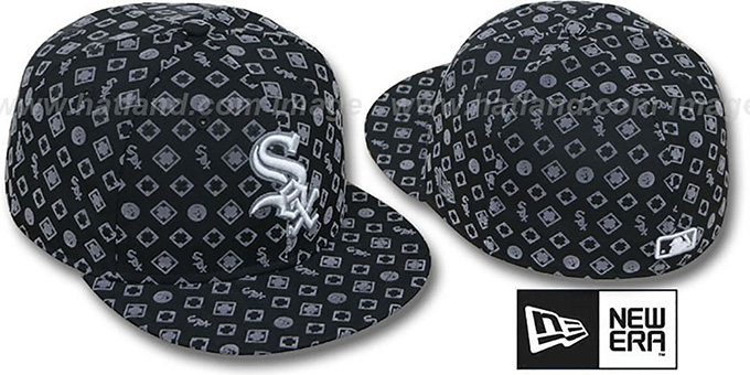 White Sox 'D-LUX ALL-OVER' Black-Grey Fitted Hat by New Era : pictured without stickers that these products are shipped with