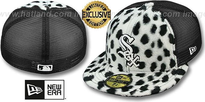 White Sox DALMATION 'ANIMAL-FUR MESH-BACK' Fitted Hat by New Era : pictured without stickers that these products are shipped with