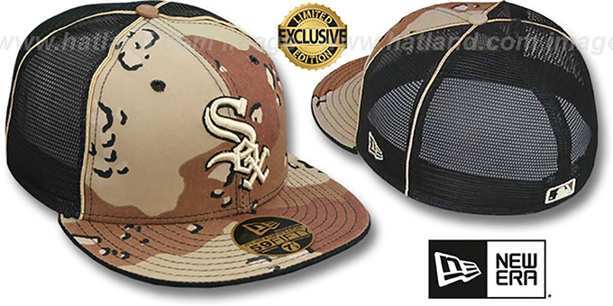 White Sox 'DESERT STORM MESH-BACK' Fitted Hat by New Era : pictured without stickers that these products are shipped with