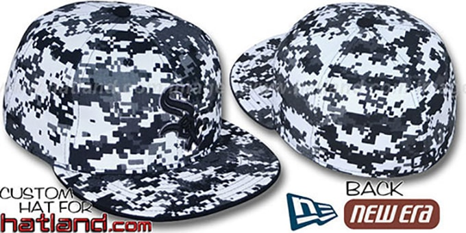 White Sox 'DIGITAL URBAN CAMO' Fitted Hat by New Era : pictured without stickers that these products are shipped with