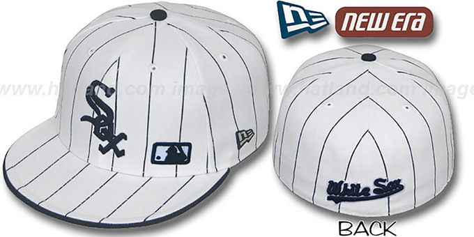 White Sox 'FABULOUS' White-Navy Fitted Hat by New Era : pictured without stickers that these products are shipped with