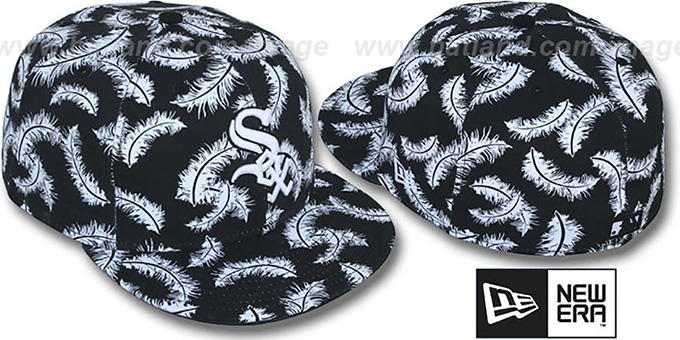 White Sox 'FEATHERS' Black-White Fitted Hat by New Era : pictured without stickers that these products are shipped with