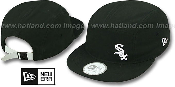 White Sox 'FLAWLESS CAMPER STRAPBACK' Black Hat by New Era : pictured without stickers that these products are shipped with