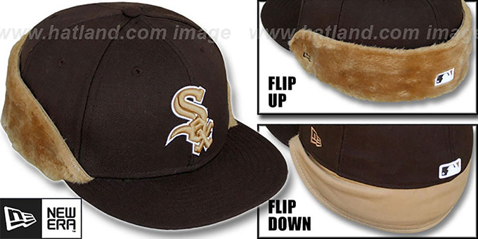 White Sox 'FUR FLIP-DOWN' Brown-Wheat Fitted Hat by New Era : pictured without stickers that these products are shipped with