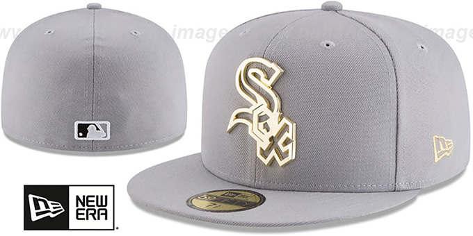 8145c064143 White Sox  GOLD FRAMED METAL-BADGE  Grey Fitted Hat by New Era