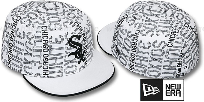 White Sox 'GOOD TIMES ALL-OVER' White-Black Fitted Hat by New Era : pictured without stickers that these products are shipped with