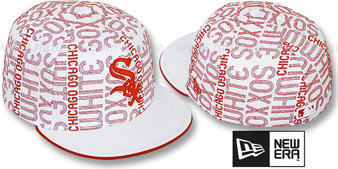 White Sox 'GOOD TIMES ALL-OVER' White-Red Fitted Hat by New Era : pictured without stickers that these products are shipped with