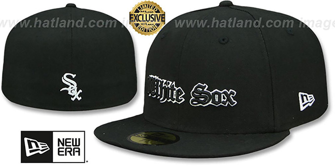 2f07003b668c0 White Sox  GOTHIC TEAM-BASIC  Black Fitted Hat by New Era