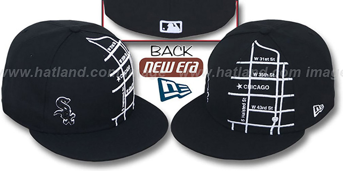 White Sox 'GPS' Black-White Fitted Hat by New Era : pictured without stickers that these products are shipped with