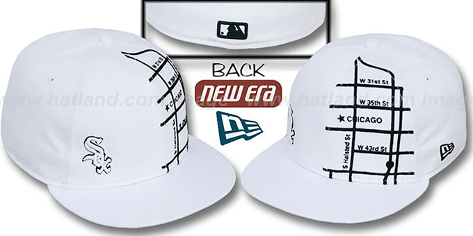 White Sox 'GPS' White-Black Fitted Hat by New Era : pictured without stickers that these products are shipped with