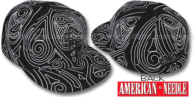 White Sox 'HENNA TATTOO' Black-White Fitted Hat by American Needle : pictured without stickers that these products are shipped with