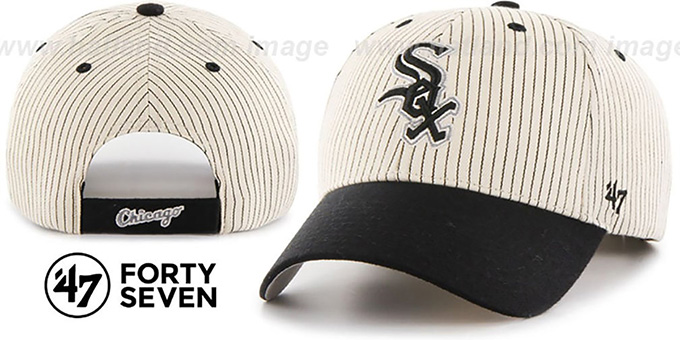 White Sox 'HOME-RUN PINSTRIPE STRAPBACK' Hat by Twins 47 Brand : pictured without stickers that these products are shipped with