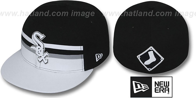 White Sox 'HORIZON' Fitted Hat by New Era : pictured without stickers that these products are shipped with