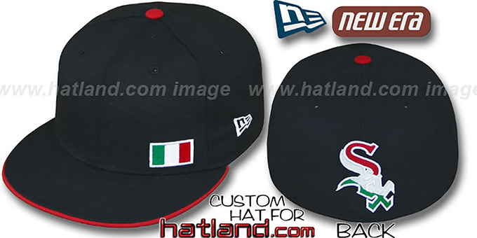 White Sox 'ITALIAN FLAWLESS' Black Fitted Hat by New Era : pictured without stickers that these products are shipped with