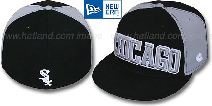 White Sox 'JMACK ARCH' Black-Grey Fitted Hat by New Era : pictured without stickers that these products are shipped with