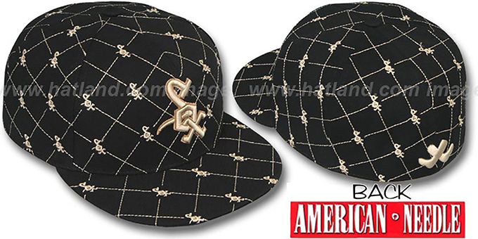 White Sox 'KINGSTON ALL-OVER' Black-Tan Fitted Hat by American Needle : pictured without stickers that these products are shipped with