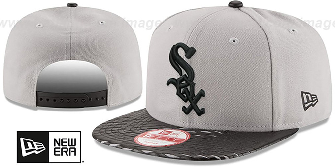 White Sox 'LEATHER-RIP SNAPBACK' Grey-Black Hat by New Era : pictured without stickers that these products are shipped with