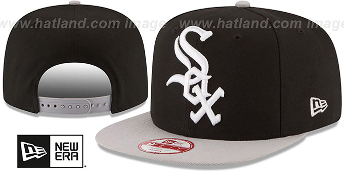White Sox 'LOGO GRAND REDUX SNAPBACK' Black-Grey Hat by New Era : pictured without stickers that these products are shipped with