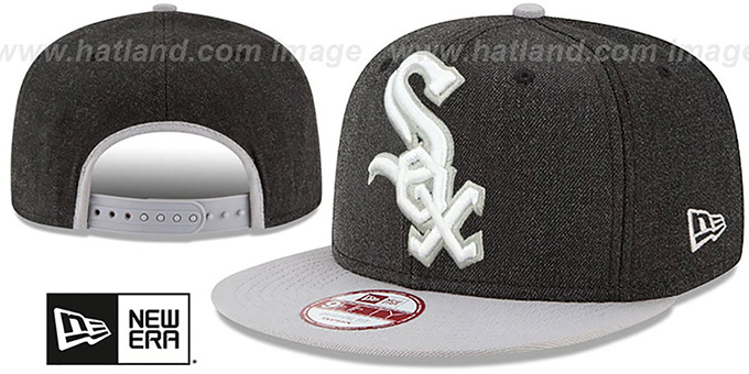 White Sox 'LOGO GRAND SNAPBACK' Charcoal-Grey Hat by New Era : pictured without stickers that these products are shipped with