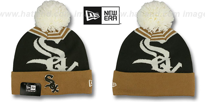 White Sox 'LOGO WHIZ' Brown-Wheat Knit Beanie Hat by New Era : pictured without stickers that these products are shipped with