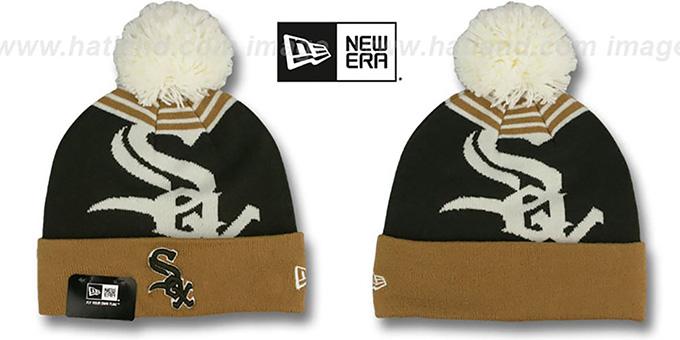 d5795280132f3 White Sox  LOGO WHIZ  Brown-Wheat Knit Beanie Hat by ...