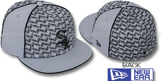 White Sox 'LOS-LOGOS' Grey-Black Fitted Hat by New Era : pictured without stickers that these products are shipped with