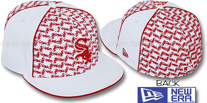 White Sox 'LOS-LOGOS' White-Red Fitted Hat by New Era : pictured without stickers that these products are shipped with