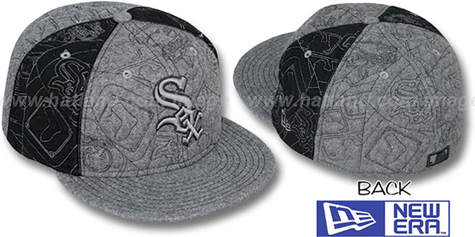 White Sox 'MELTON PUFFY PINWHEEL' Grey-Black Fitted Hat by New Era