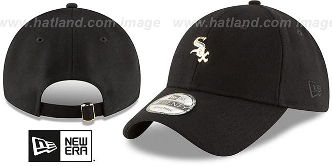 White Sox  MINI GOLD METAL-BADGE STRAPBACK  Black Hat by ... 83bcf064971