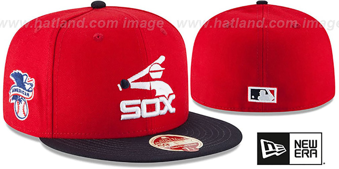 White Sox 'MLB COOPERSTOWN WOOL-STANDARD' Red-Navy Fitted Hat by New Era : pictured without stickers that these products are shipped with