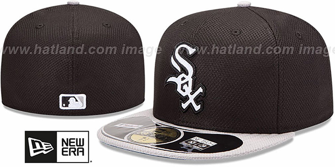 3bdcc4979d7 White Sox  MLB DIAMOND ERA  59FIFTY Black-Grey BP Hat by New Era