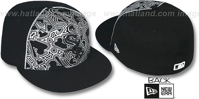 White Sox 'MLB-FOIL' Black-Silver Fitted Hat by New Era : pictured without stickers that these products are shipped with