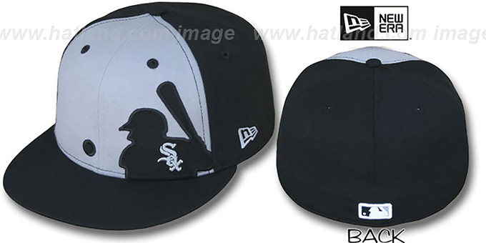 White Sox 'MLB SILHOUETTE' Grey-Black Fitted Hat by New Era : pictured without stickers that these products are shipped with