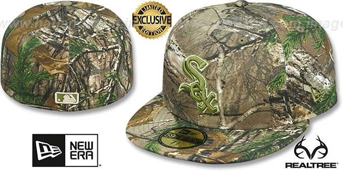 White Sox 'MLB TEAM-BASIC' Realtree Camo Fitted Hat by New Era : pictured without stickers that these products are shipped with