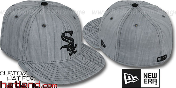 White Sox 'MUD-PRINT' Grey Fitted Hat by New Era : pictured without stickers that these products are shipped with