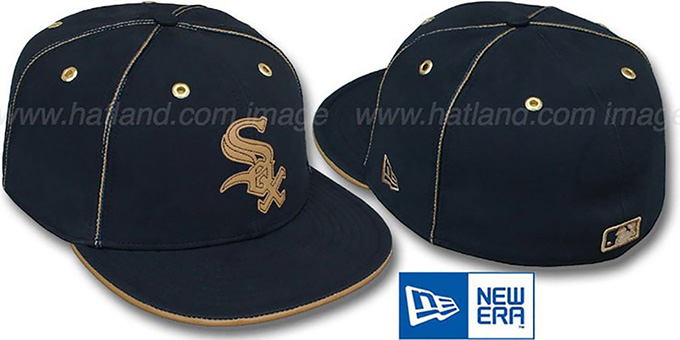White Sox 'NAVY DaBu' Fitted Hat by New Era : pictured without stickers that these products are shipped with