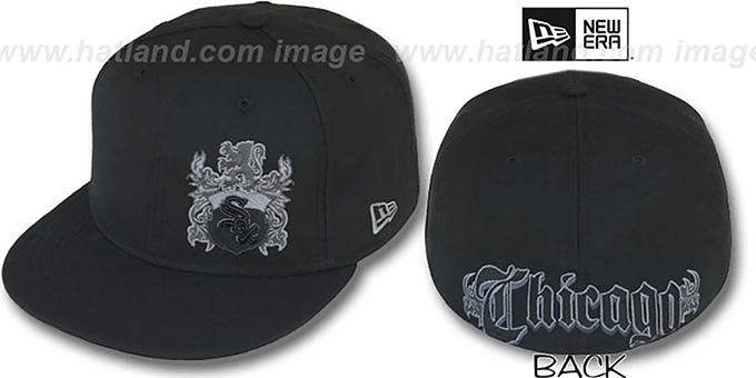 White Sox 'OLD ENGLISH SOUTHPAW' Black Fitted Hat by New Era : pictured without stickers that these products are shipped with