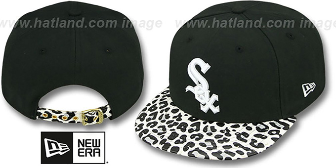 White Sox 'OSTRICH-LEOPARD STRAPBACK' Hat by New Era : pictured without stickers that these products are shipped with