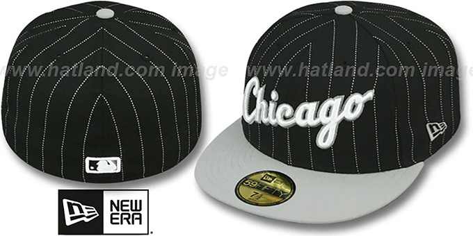 White Sox 'PIN-SCRIPT' Black-Grey Fitted Hat by New Era : pictured without stickers that these products are shipped with
