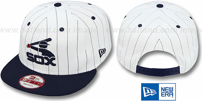 White Sox 'PINSTRIPE BITD SNAPBACK' White-Navy Hat by New Era : pictured without stickers that these products are shipped with