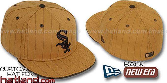 White Sox 'PINSTRIPE' Wheat-Brown Fitted Hat by New Era : pictured without stickers that these products are shipped with