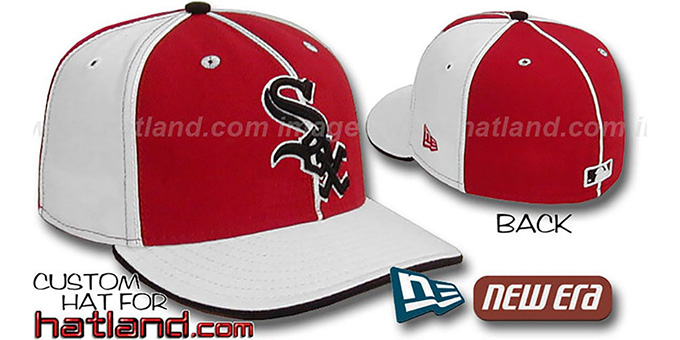 White Sox 'PINWHEEL-3' Red-White Fitted Hat by New Era : pictured without stickers that these products are shipped with