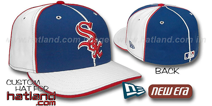 White Sox 'PINWHEEL-3' Royal-White Fitted Hat by New Era : pictured without stickers that these products are shipped with